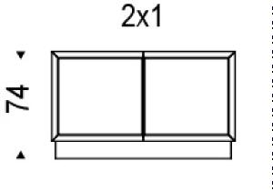 2x1: 122,5x49x74h cm