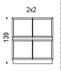 2x2: 122,5x49x139h cm