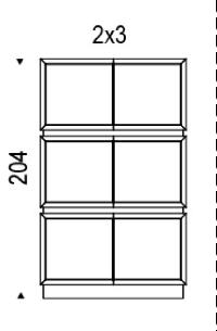 2x3: 122,5x49x204h cm