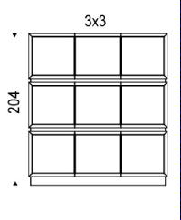 3x3: 184x49x204h cm