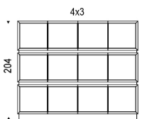 4x3: 245.5x49x204h cm