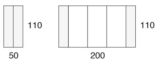 110 x 50/200 cm
