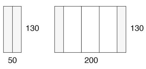 130 x 50/200 cm