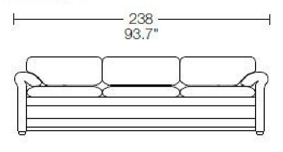 3 seats - L: 238 cm