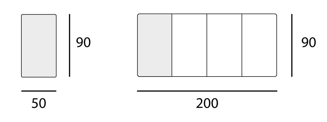L 50 → 200 | W 90 cm