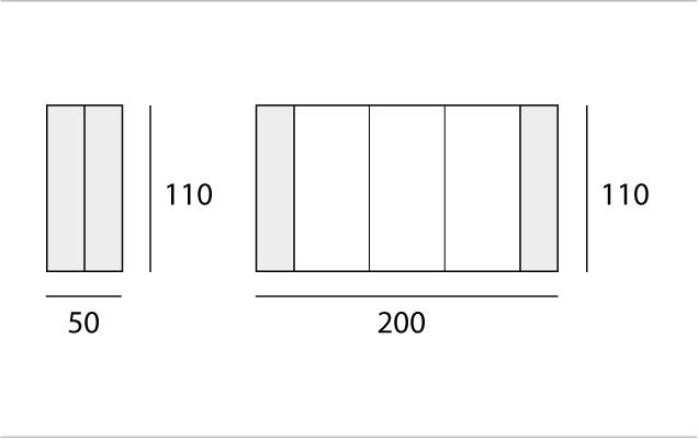 L 50 → 200 | P 110 cm