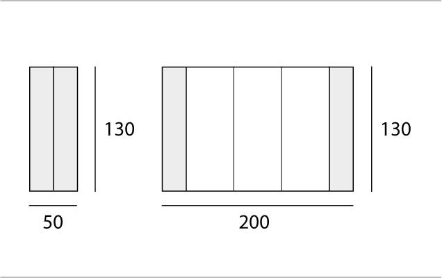 L 50 → 200 | P 130 cm