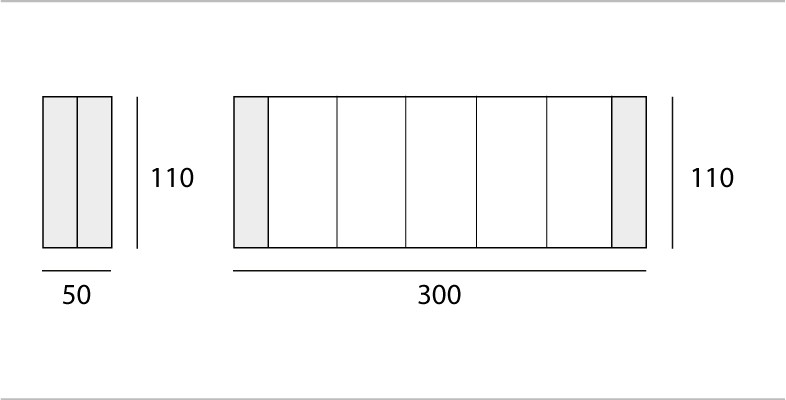 L 50 → 300 | P 110 cm