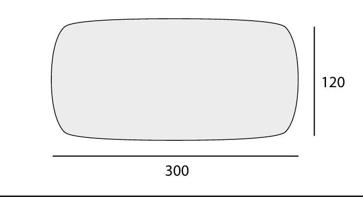Shaped: 120x300 cm
